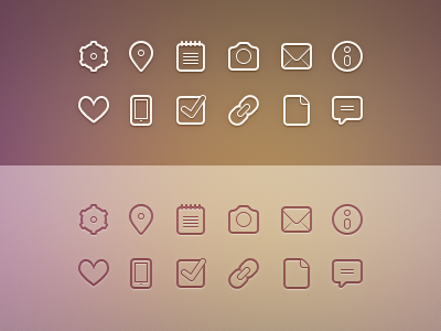 Glyphs glyphs pictograms settings location notes camera email info like phone checkbox link page comment glyph