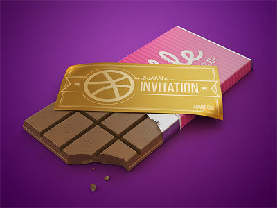 Dribbble invite invite chocolate ticket dribbble gold willy wonka 3d render stripes photoshop