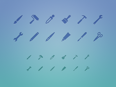 Tool Icons icons tools brush roller eyedropper hammer wrench pencil wacom glue screwdriver scissor glyphs glyph