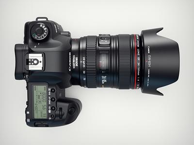 3d Canon 5d MKII camera top view canon 5d camera 3d vray photoshop portfolio metal