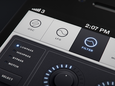 Untitled iOS/iPhone synth app navigation knobs glow glyphs filter led dial synth sequenser iphone synthesizer 3d ios apple phone icons glyph icon blue sweden