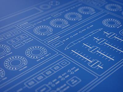 Synth Desktop Hardware Wireframe wireframe synth bluuuuuuue knob slider led blueprint blue