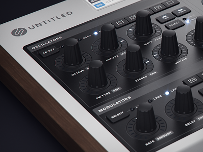 Synth Desktop Hardware 3d Wip01 hardware synth wip 3d fader slider knob button led glow c4d vray wood rubber