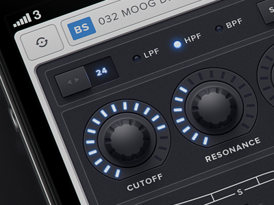 Untitled iOS/iPhone Synth App Fixes synth knobs iphone faders sliders dropdown navigation synthezier zzz ios blue