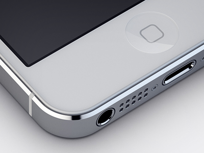 White iPhone 5 iphone5 white render photoshop cinema4d. apple phone metal glass