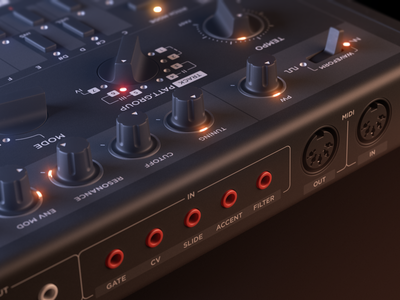 T.3 1 roland audio synth tb-303 leds clone 303 render 3d