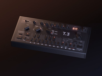 T.3 Animation knobs bassline synth tb-303 clone 303 animation design render 3d