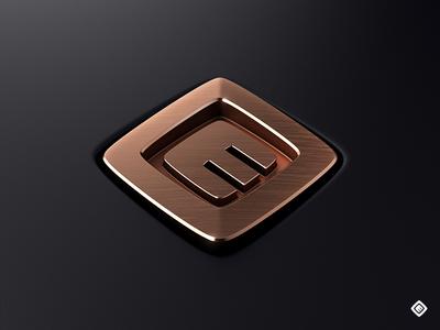 Copper Emblem copper logo test glossy perspective emblem vray 3d