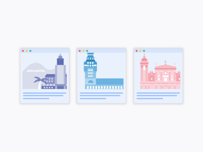 City Illustrations for Site uruguay paraguay montevideo los angeles city cards ui card design card flat animation web icon ux ui identity design branding