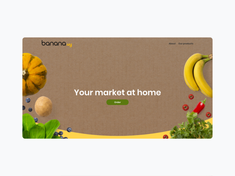 Banana landing page visualidentity online store commerce online shop illustation food app vegetarian vegan flatdesign ecommerce app delivery app monkey banana ui ux identity design branding