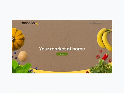 Banana landing page visualidentity online store commerce online shop illustation food app vegetarian vegan flatdesign ecommerce app delivery app monkey banana ui ux identity design branding
