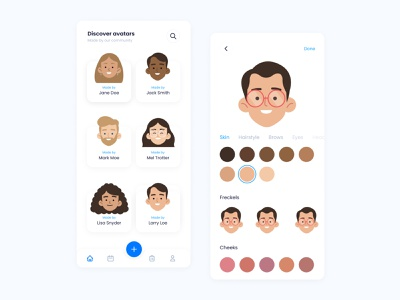Avatar Generator Mobile Prototype interactions mobile app ios change color identity branding generator avatar prototype emoji