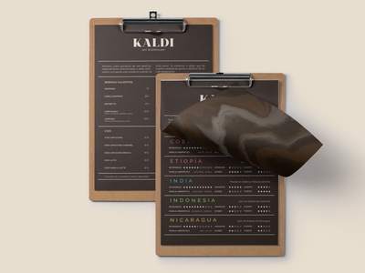 Kaldi - Specialty Coffee House menu design