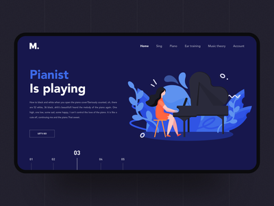 Pianist is playing pianist music piano branding illustration design