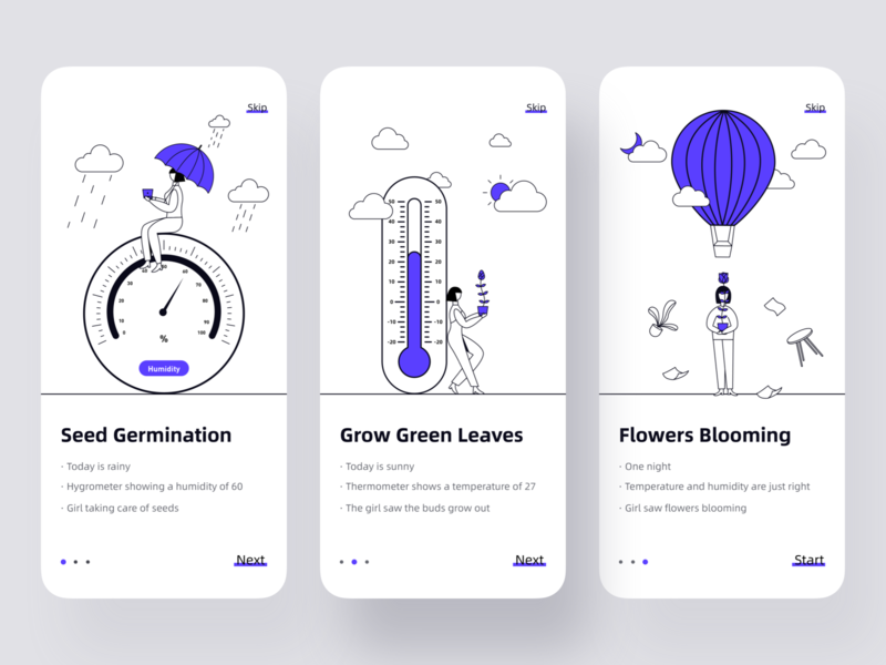 Startup page-plant growth app ui illustration design