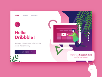 Hello Dribble! gradient illustration drafted invited hello dribbble webdesign landing page website