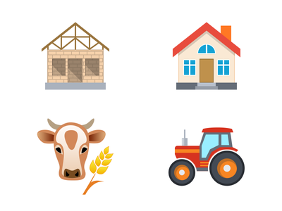 Bank Icons #1 tractor mortgage agriculture cow house home leasing bank icons