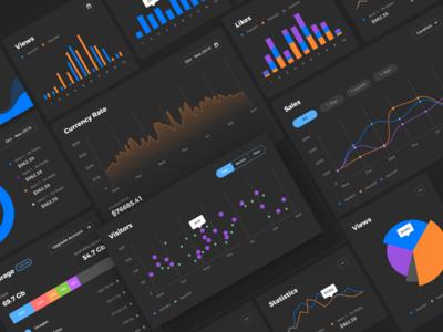 Neolex. Figma design system. Dashboard Components (Dark theme).