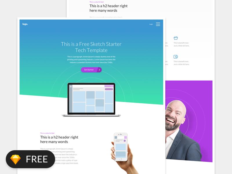 Free Sketch Starter Design Template - Tech ux ui sketch icons brand colour color tech website web free design