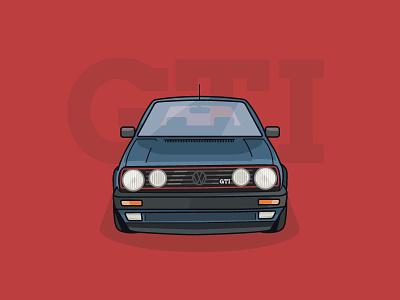 Dream Vehicles - No.1 - VW Golf Mk2 GTI iconography designer gti golf logo creative design colour brand illustration car