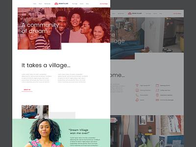 Dream Village - Homepage Design designer graphic clean modern sketch web website ux ui colour brand design home