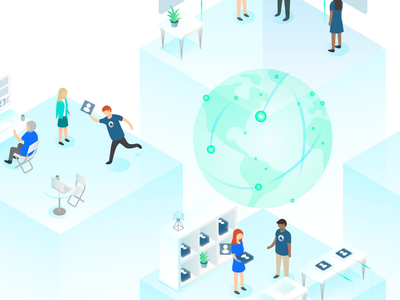 SIPPIO - About - Illustration web graphic design create globe logo adobe telecommunications colour brand isometric illustration