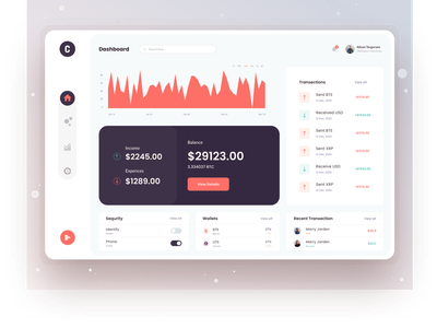 Crypto Dashboard UI Exploration web app website design ui design uxdesign balance transfer crypto exchange crypto wallet cryptocurrency financial website finance typography