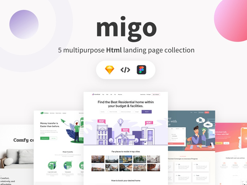 Migo app landing page pack-1 by Chilling Mantis on Dribbble