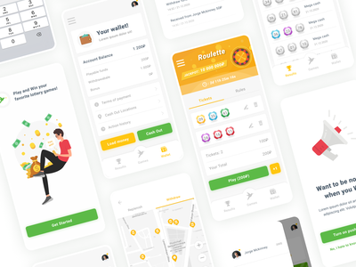 Mobile lottery game manager ♠️ graphic lotto game interface art vector illustration figma design mobile ux ui