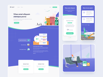 Marketing part of travel platform product marketing landing page booking trips appartments mobile illustration business travel discover hotel travel airport plane