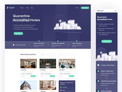 Quarantine Accredited Hotels 🩺 ux ui interface figma design covid-19 graphic mobile illustration web travel booking hotels quarantine