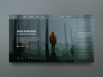 News page about a man who lost in the forest interface information website ux ui web illustration design flat minimalism news