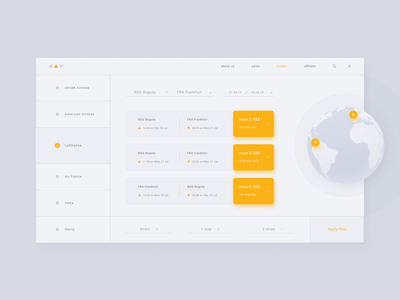 O.A.V. Flights 🛩️ search for perfect tickets interface vector website top gray minimal new orange free material design flat figma earth plane search design web flights ux ui