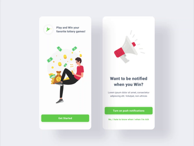 Mobile lottery game manager ♠️ animation art minimal illustration flat web figma design ux ui game