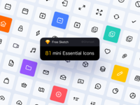 81 mini Essential Icons - Free Download freebie svg sketch mobile app dashboad pack symbol design ui application app line colors download free icons icon essential