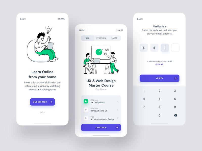 An Online Course App verify sharp ui design graphic verification white green purple study online learning course iphone illustration clean application design minimal app ui