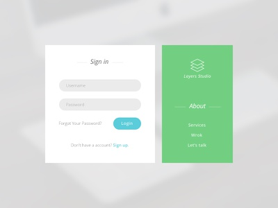 Login Form | simple and efficient ux ui green blue clean efficient simple form login loginform