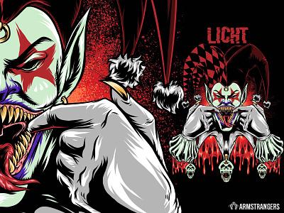 licht clown joker skull skeleton artwork illustration
