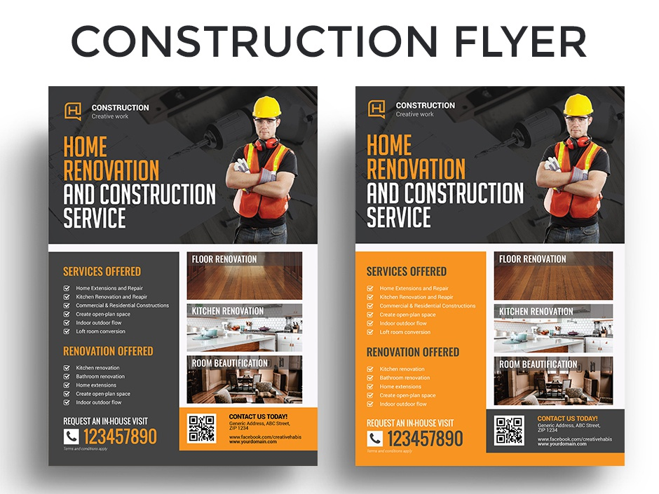 Construction and Renovation Flyer Template graphicriver business building company equipment flyer heavy hardware industrial service safety repair renovation real estate professional home home renovation engineering construction flyer architecture