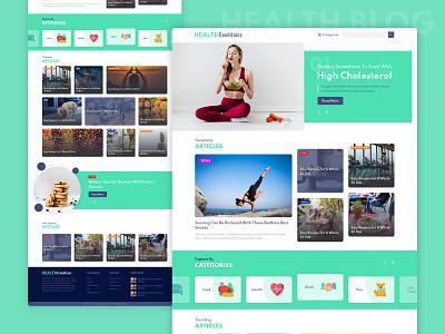 Health Blog Site 3 homepagedesign homepage lander webpage blue green health sketch e-commerce branding logo blog banner website web ux ui design