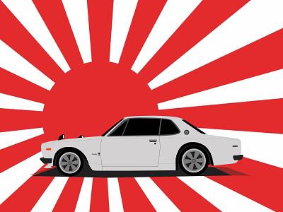 Nissan Skyline GT-R Hakosuka Illustration branding design rising sun japan car illustration hokosuka gt-r skyline nissan