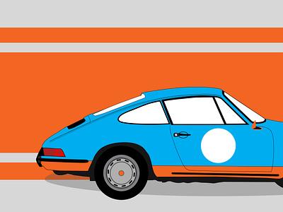 Porsche 964 With Gulf Racing Livery design icon branding illustration vintage car car gulf racing gulf porsche 964 porsche