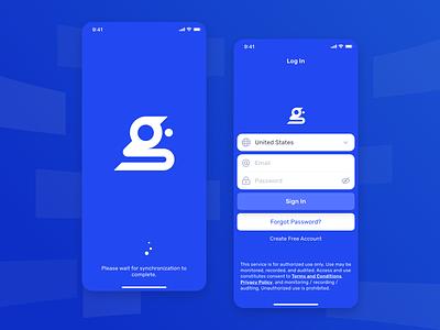 G-Control App – Auth blue design logo authorization mobile ui login ios team control app