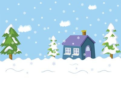 Snow Landscape And House, Pine Trees, Snowflakes Vector december view outdoor snowfall snowy snowflake year art cold nature card holiday vector illustration season tree snow winter landscape house