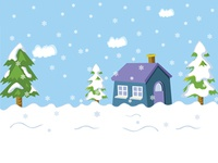 Snow Landscape And House, Pine Trees, Snowflakes Vector