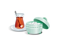 Turkish Tea And Sugar Cubes Vector
