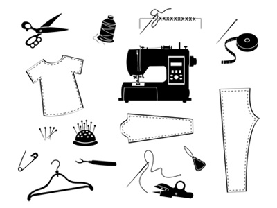 Tailor And Garment Industry Icon Set clothes fabric dress machine dressmaker designer icon thread design tailoring craft industry clothing textile illustration needle sewing vector tailor garment