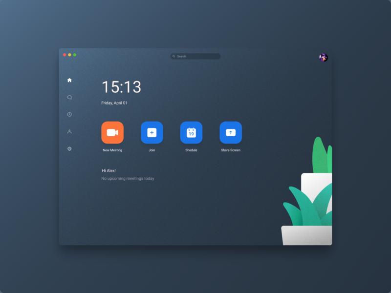 Zoom - Mac App Concept meet platform streaming video chat meeting figma designer concept ui macos redesign app mac zoom design