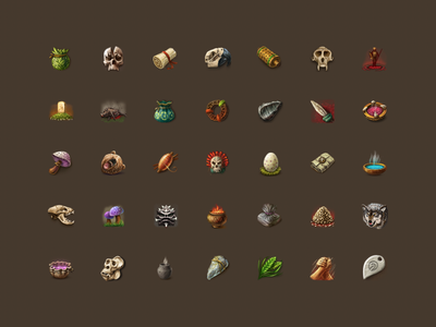 My retro icons for online game photoshop adobe game design game art design ui art set handmade prg mmo collection icons game