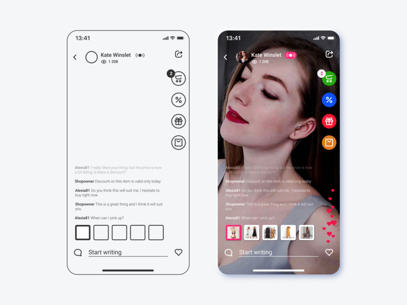 Live streaming platform for e-commerce - process product sketch ui skeleton wireframe prototype figma global shopping live streaming layout design process